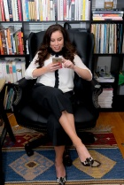 Wide, portrait shot in chair