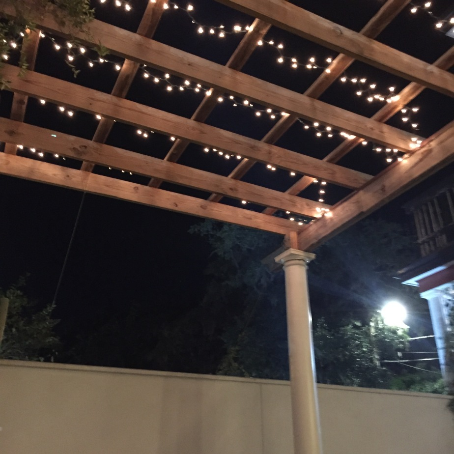 A beautiful pergola latticed with white tea lights hovers above the courtyard giving a magical ambiance to the art gallery opening.