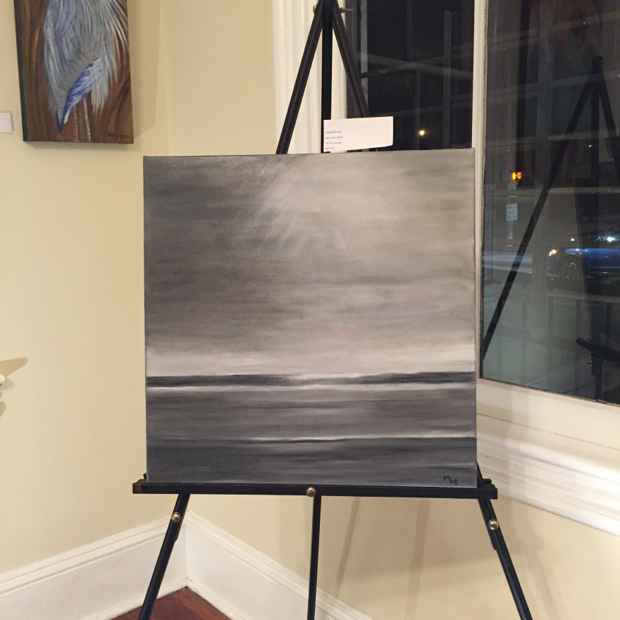 Tybee Morning is a painting in grays and whites that depicts the beach on Tybee Island.