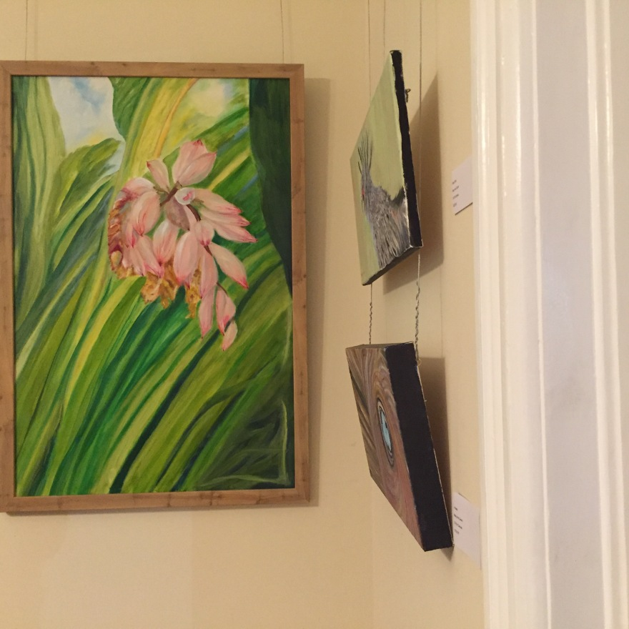 Mary Ann's artwork occupies a corner of the front room.