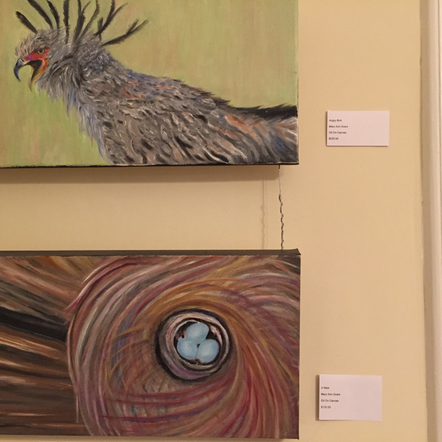 """Mary Ann's """"Angry Bird"""" and """"A Nest"""" are displayed."""