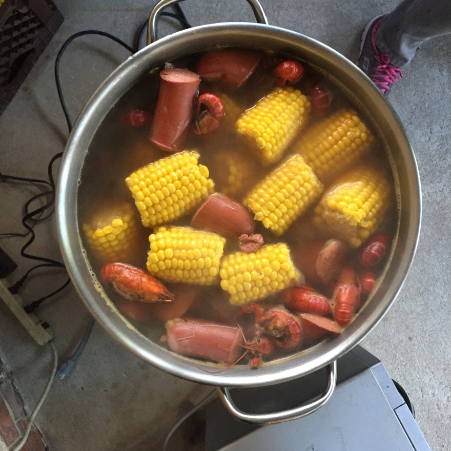 Overhead photo of the pot of seafood boil.