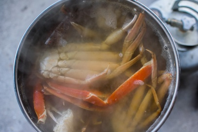 Crab legs are boiled separately to prevent overcooking.