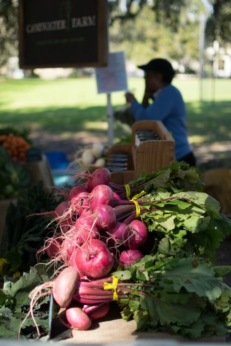 Beets on display at Savannah's Farmer's Market.