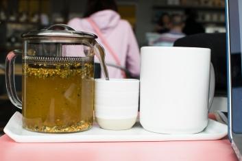 Ginger tea from Revelator Coffee in Grant Park.