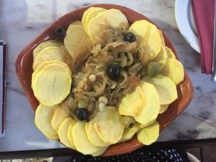 Bacalhau com batatas fritas or salted cod with fried potatoes is a famous dish in Portugal.