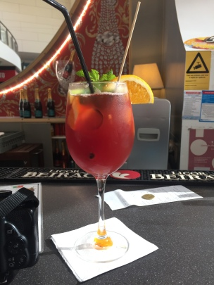 A freshly made sangria at a Portugal bar.