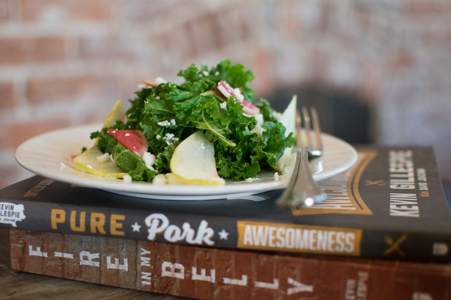 Kale Salad with local radish and feta cheese.