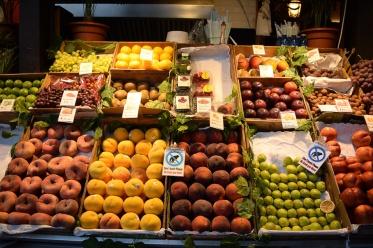 Fresh fruit on display at San Miguel Market in Madrid, Spain.