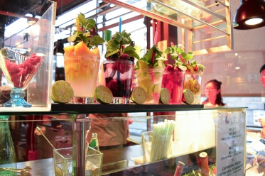 Freshly made cocktails on display at San Miguel Market in Madrid, Spain.