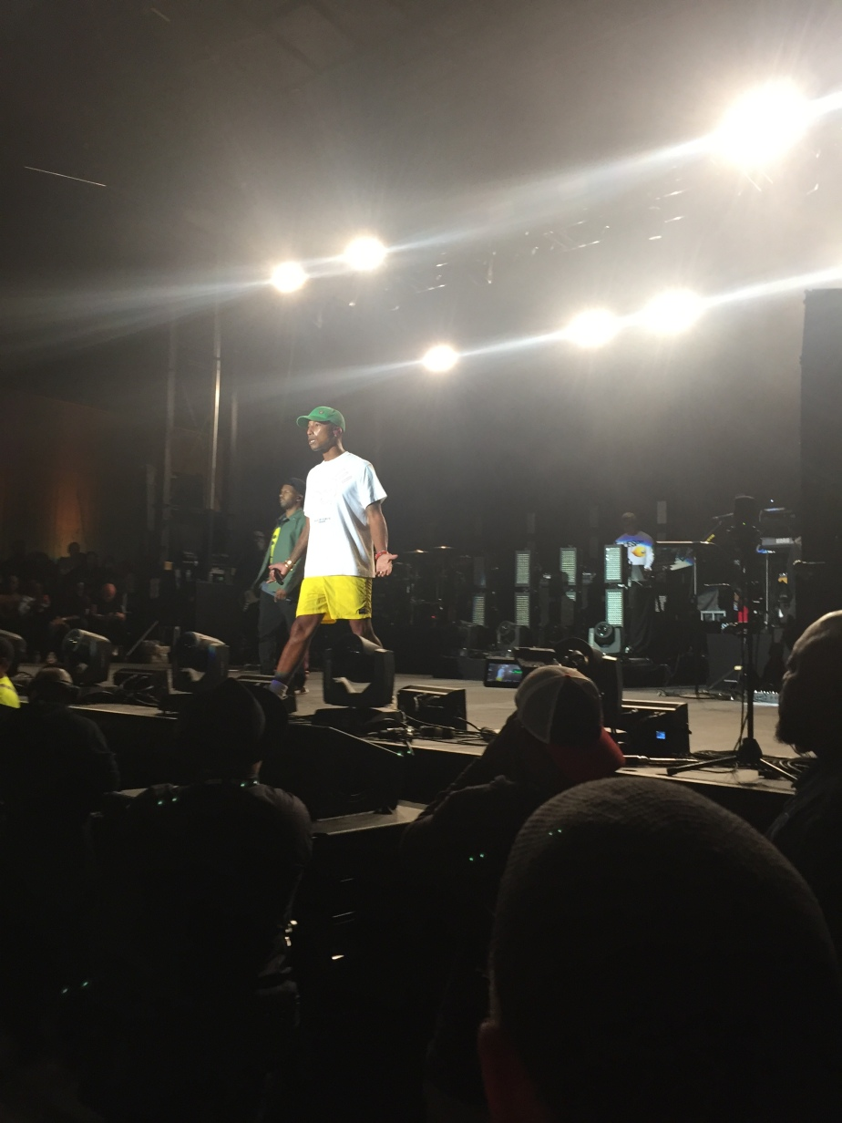 Pharrell front and center on the stage.